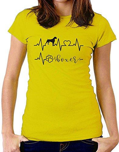 Tshirt Elettrocardiogramma Boxer - I love Boxer - cani - dog - love - humor - tshirt simpatiche e divertenti Giallo