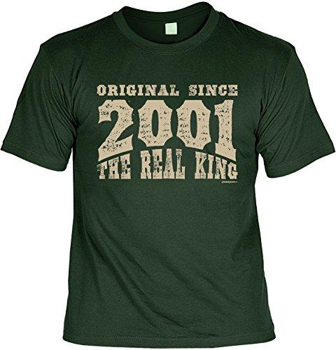 T-Shirt zum 16. Geburtstag Original since 2001 the real king Geschenk zum 16 Geburtstag 16 Jahre Geburtstagsgeschenk 16-jähriger Dunkelgrün