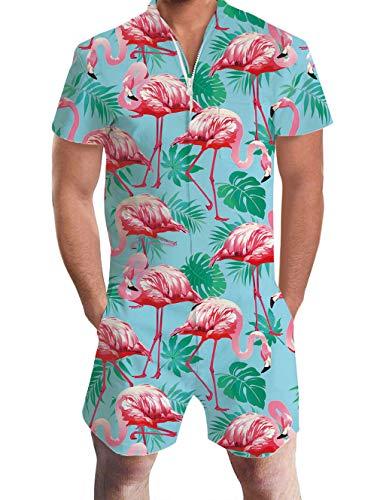 Goodstoworld Herren Jumpsuit Kurz Overall Männer Jumpsuit Casual Sommer 3D Printed Herren Strampler Grafik Overall Shorts Flamingos Hawaiian XL