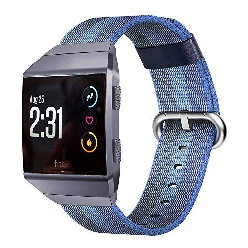 Pugo Top Fitbit Ionic Gurt, gewebtes Sport-Nylonband Ersatz Accessories Armband mit klassische Schnalle für die Fitbit Ionic Smartwatch für Damen Herren Mädchen Jungen, blau gestreift