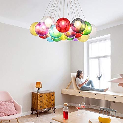 Kinderzimmer-kronleuchter Schattierungen (BDS lighting 15 Glaskugel Kronleuchter für Kinderzimmer Schlafzimmer Wohnzimmer Restaurant Pendelleuchte Blase Licht Bekleidungsgeschäft Kronleuchter LED (Farbe : Bunte))