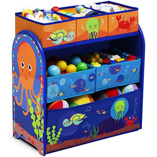 TW24 Aufbewahrungsregal mit 6 Boxen und Motivwahl Kinderregal Holz Aufbewahrungsboxen Regal Kindermöbel Standregal (Ozean) -