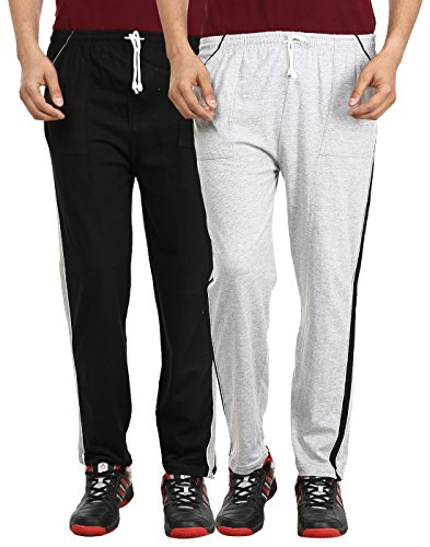 Gumber Gray & Black Solid Pyjama Pack of 2 Free Size for Men