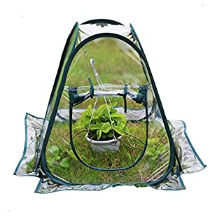 AHOME Mini Pop Up Greenhouse Clear PVC Flowerpot Cover Gardening Plants Tent Backyard Flower Shelter 70 * 70 * 80cm