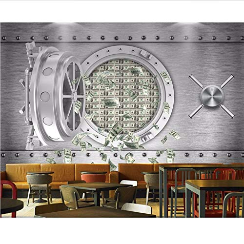 Knncch Hot 3D Customized Bar Restaurant Tapete PersönlichkeitSafe Einlagen Dollar Wand Ktv Wandbild Mode Tapete-280X200Cm (5-dollar-safes)