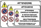 IRPot - 3X CARTELLI ' ATTENZIONE CANCELLO AUTOMATICO ' SEGNALAZIONE PERICOLO