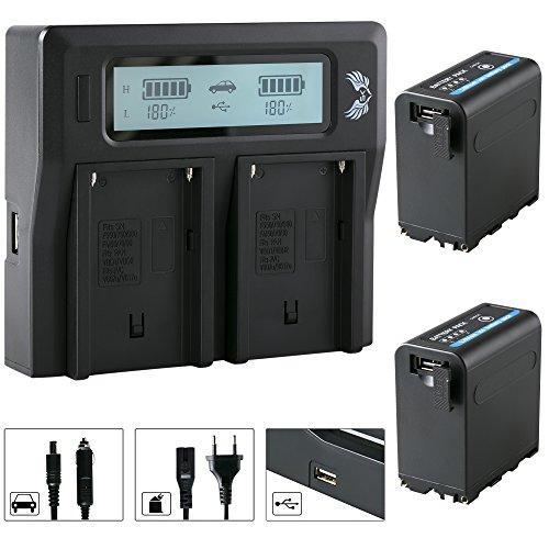 2X SK Akku Sony NP-F980   10050mAh   5V USB Ausgang und DC 8,4V EIN & Ausgang + LCD Dual Doppel Ladegerät für Sony NP-F750 NP-F970 NP-F990 usw. Np-fm50-lithium-batterie