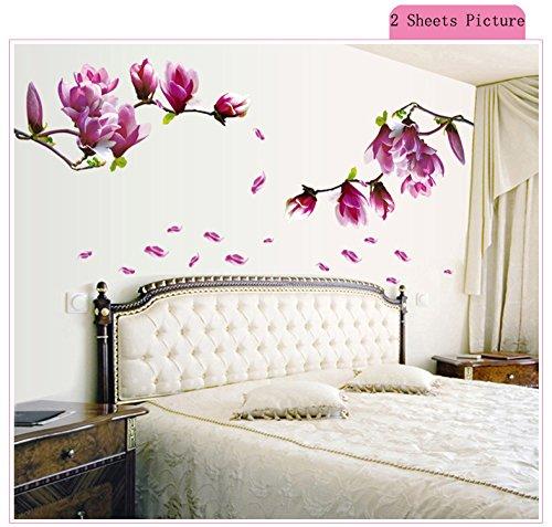 zooarts Magnolia flores rama extraíble vinilo de pared Adhesivos Adhesivo mural