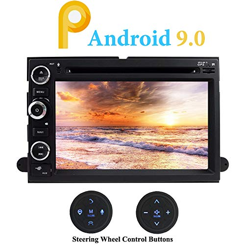 XISEDO Android 9.0 Autoradio In-Dash Car Radio 7 Zoll Quad Core Autonavigation Car Radio mit DVD Player für Ford Explorer, F150, Mustang, Fusion (mit Lenkrad-Steuertasten)
