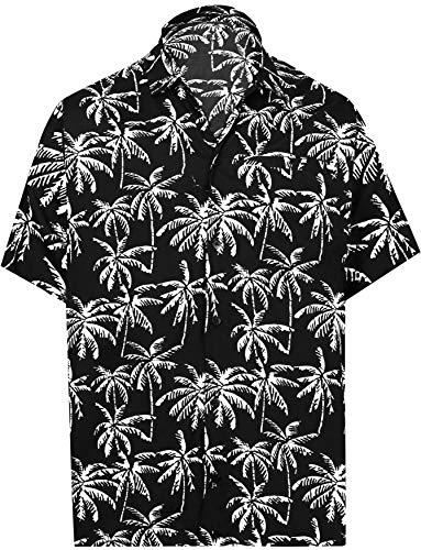 LA LEELA Palme gedruckt Herren-Hawaii-Hemd zuknöpfen Vortasche Kragen Urlaub Partei Arbeiten lässig Aloha M-Brustumfang (in cms):101-111 Schwarz_AA177