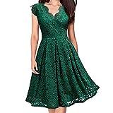 OIKAY 1950er Retro Kleid Frauen V-Ausschnitt Schulterfrei Spitze Vintage Formale Abend Party Dress Lange Oder Kurzarm Kleider