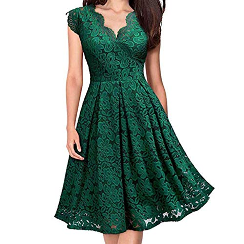Dragon868 Damen Vintage Floral Lace Boat Neck Party Cocktail Formale Swing Kleid Ball Gown Scoop Neck