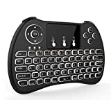 Tripsky H9 Mini clavier sans fil rétroéclairé, à main levée avec Touchpad souris à distance pour TV BOX pour Android, Windows PC, HTPC, IPTV, Raspberry Pi, Xbox 360, PS3, PS4 (Noir)