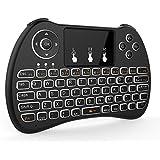 tripsky H9retroiluminado Mini teclado inalámbrico, mando a distancia de mano con touchpad Ratón para Android TV Box, Kodi caja, Windows PC, HTPC, IPTV, Raspberry Pi, Xbox 360, PS3, PS4(negro)