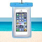 RUHRBASIS Smartphone Handy Outdoor Beach Bag Tasche Schutzhülle Wasserfest für Strand Reise Urlaub Schutz Nässe Staub Schmutz Sand für Motorola | Lenovo Moto | G3 | G4 | G5 | Plus - Transparent Blau
