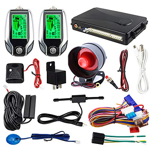 Easyguard EC204 2-Wege-Auto-Alarmanlage mit passivem Schlüsselloser, wiederaufladbarer LCD-Anzeige und Stoßwarnung, DC12 V
