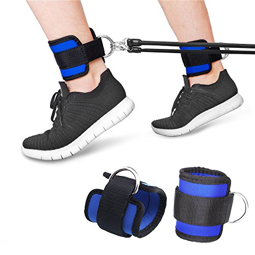 Yakamoz Adjustable Ankle Straps, Fitness Ankle D-Ring Cuff Strap for GYM Cable Machine Workouts Leg Butt Exercises (Pack of 2)