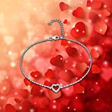 Elegant Heart ANKLET With Micro Pave AAA Zircon, STERLING SILVER Anklet / Ankle Chain / Ankle Bracelet includes Pretty Gift Box- Adjustable Bild 1