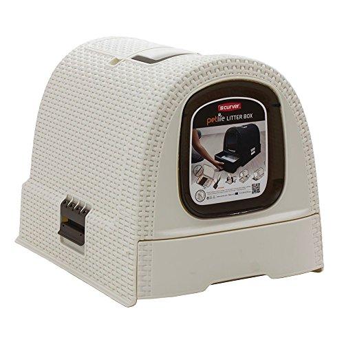 Esta caja cubierta de arena para gatos de Curver tiene un diseño maravilloso y será la elección perfecta para su gato. Esta caja de arena está hecha de un muy resistente ratán plástico de alta calidad. Tiene un práctico cajón que facilita vaciar la c...