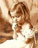OBELLA Malen nach Zahlen erwachsene kinder mädchen DIY ölgemälde 50x40 cm Betendes Mädchen (Mädchen,Ohne Rahmen)