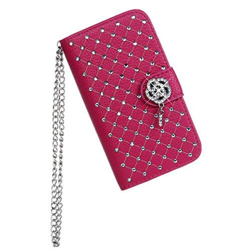 iPhone 4 4S Hülle,COOLKE [schwarz] Flip Cove case Luxury Beautiful Diamond Bling Wallet für Apple iPhone 4 4S 4G Schutzhülle Hülle Schutzschale Schale Handytasche Tasche Etui Case rosa