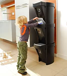 1 x Stacking Recycle Bin - Black by STORE
