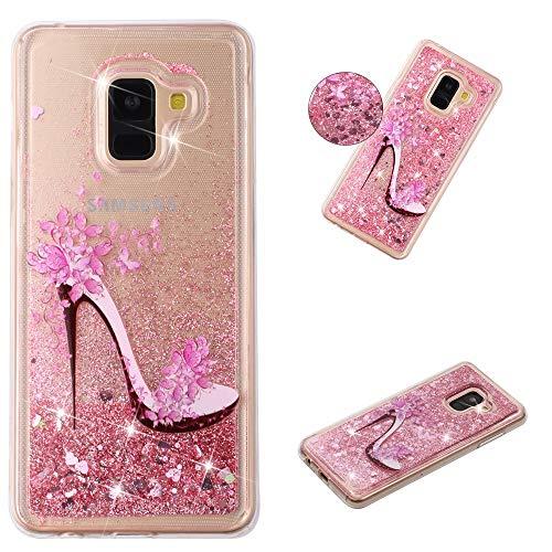 Miagon Flüssig Hülle für Samsung Galaxy A8 2018,Glitzer Weich Treibsand Handyhülle Glitter Quicksand Silikon TPU Bumper Schutzhülle Case Cover-Rosa High Heels (Rosa-tenorsaxophon)