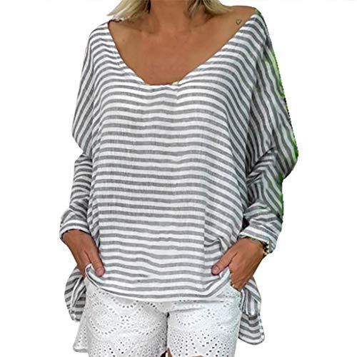 VJGOAL Tops Damen Elegant Pullover Sweatshirt Frauen Freizeit V-Ausschnitt Lose Streifen Fledermaus Ärmel Shirts Browning-camo Sweatshirt