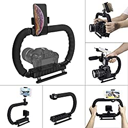 Hydra Stabilizer Handheld Camera Stabilizer DC+DV 2-Hand Holder Camera Steadycam Mount Hand Grip Shooting Rig Compatible for Gopro Action Cameras+Sony Nikon Canon DSLR Cameras+iPhone/Samsung Phones