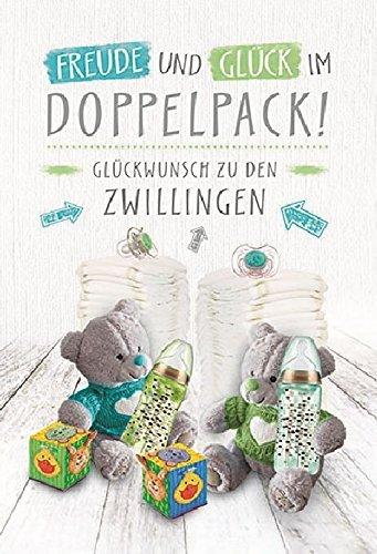 """Glückwunschkarte zur Geburt von Zwillingen\""""Doppelpack\"""", B6 + Umschlag"""