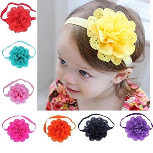 LUCKDE 8 Stück Baby Blumen Haarband, Mädchen Blumen Stirnbänder Fotografie Stirnband Haarreif Hochzeit Kopfschmuck Blumenkranz Kinder Haarschmuck Hasenohren...