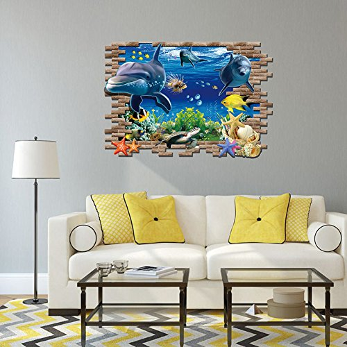 Rureng Kreative Wall Sticker Abnehmbare Vinyl Umwelt 3D Sea Allgemeine Mobilisierung Selbstklebende Cartoon Zimmer Tapetensticker 90 * 60 Cm
