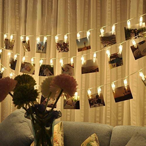 Hochwertig LED Fotolichterkette Photoclips Warmweiß Lichterkette Tomshine Clip Bilder  Lichterkette 40 LEDsBatt