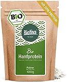Polvere di proteine di canapa 50% biologica (1 kg), 1000 g, vegana, 50% contenuto proteico, senza glutine, soia e lattosio, insaccata in Germania (DE-ÖKO-005)