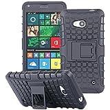 ECENCE Hybrid Outdoor + DE VIDRIO TEMPLADO 9H 0.33mm 2.5D para Microsoft Lumia 640 Dual 640 LTE Protección Caja Caso Bumper Cover Coraza Silicona Funda negro 43030106