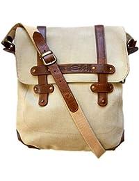 La Martina borsa tracolla vintage in tessuto e pelle ecrù e marrone ba67f1e4481