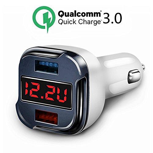 Quick Charge 3.0 Kfz Ladegerät, Schnellladegerät, Dual USB Kfz Ladegerät Adapter mit Spannungsmeter Voltmeter Spannungsanzeige Aktuelle Tester für IPhone X, 8,7,7 Plus,Ipad Nexus SONY Samsung Galaxy