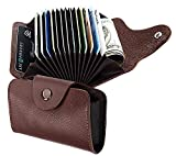 #9: SeCro Leather Credit Card Holder with12 Slots & 2 Money Slot for Men & Women Coffee