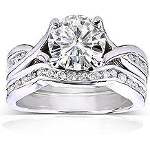 Redondos moissanita y juego de anillos de novia de diamante 11/2quilates (quilates) en oro blanco de 14K
