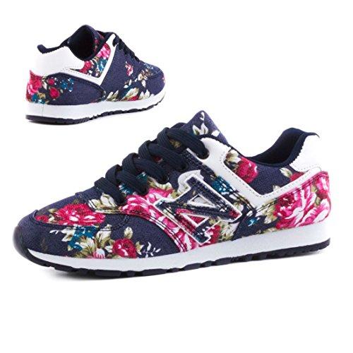 Trendige Damen Schnür Sneaker Freizeit Schuhe mit Blumenmuster Navy
