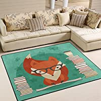 Use7 Educational Fox Reading Book Area Rug Rugs for Living Room Bedroom 203cm x 147.3cm(7 x 5 feet)