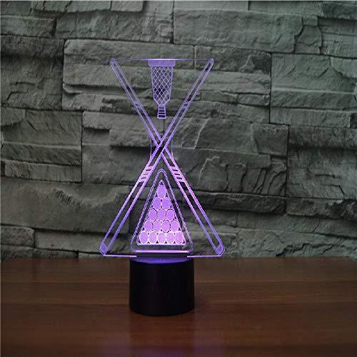 Billard Lampe Leuchte (3D Lampe Leuchte Led Stimmungslicht Billard 7 Farben Touch-Schalter Ändern Nachtlicht Für Schlafzimmer Hochzeit Weihnachten Valentine Geburtstag Geschenk)