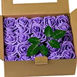 LoveinSide 50Pcs Fiori Artificiali Roese - Veri Fiori di Rose Finti, per Mazzi Fai da Te, Decorazioni per Matrimoni A Casa - Purple