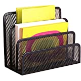Di Grazia Black Mesh With 3 Sections/Compartments Home Office Desktop Organizer Letter File Document Tray Sorter(vertical-3-sections-mesh)