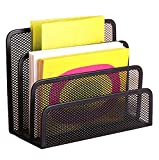 Di Grazia Black Mesh With 3 Sections/Compartments Home Office Desktop Organizer Letter File Document Tray Sorter