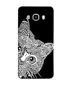 PrintVisa Designer Back Case Cover for Samsung Galaxy J7 (6) 2016 :: Samsung Galaxy J7 2016 Duos :: Samsung Galaxy J7 2016 J710F J710Fn J710M J710H (Cat Pussy Kitty Black Animal Pet Hide )