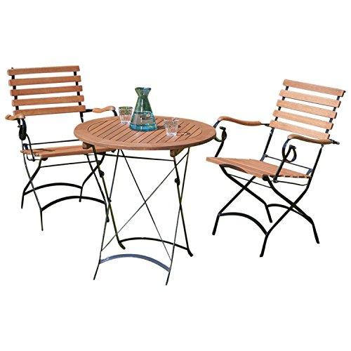 Bistroset Schlossgarten 3-teilig, 2x Armlehnensessel + Tisch rund 70cm + Eukalyptus, FSC®-zertifiziert