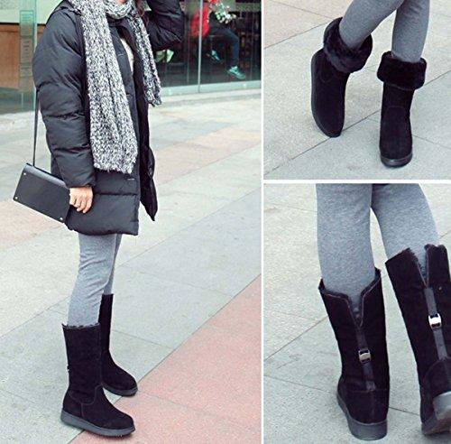 Stivali Mid Calf Per Le Donne Snow Durable Esterno Inverno Termico Caldo Impermeabile Casual Booties Black