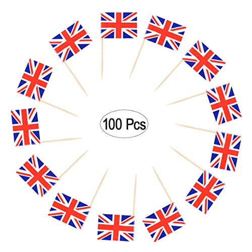 LUOEM 100 STÜCKE Britische Flagge Zahnstocher Union Jack Cupcake Toppers Picks Kuchen Toppers Cocktail Stick für Party Cake Toppers Dekorationen