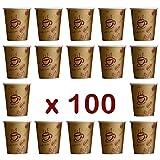 """'100 Unidades. Coffee To Go – Vasos desechables para café, cartón revestido, 200 ml/alta calidad """"Coffee to go"""" Taza, diseño de granos de café"""